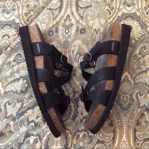 Mephisto Handel Double Strap Black Sandals Sz 7